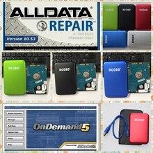 750 Гб HDD alldata программное обеспечение 10,53 и Mitchell ondemand все данные авторемонт данных подходит для win7 XP системы для автомобилей и грузовиков