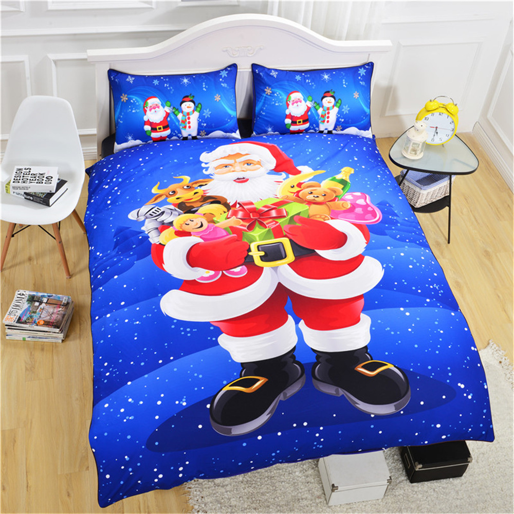 CAMMITEVER Christmas Bedding Set Queen Duvet Cover Bed Set Bedclothes 3pcs Bedding for Children Boys Girls