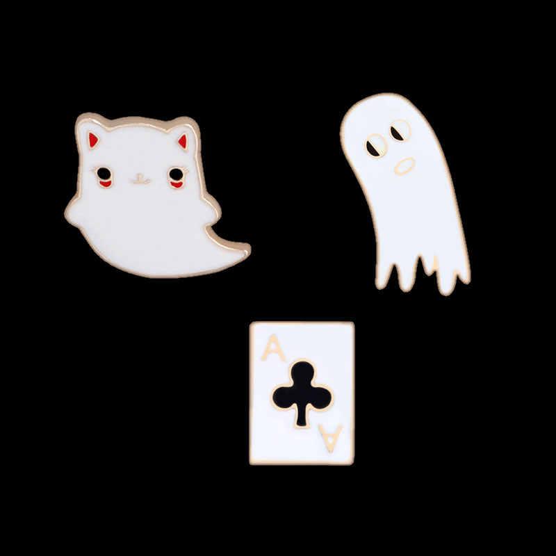 Uomini Bambini Pokemon Smalto Spille Cute Cartoon Spilli Fantasma Carta Da Gioco del Gatto del Metallo Spille per Le Donne Monili Giubbotti jeans Collare Distintivo