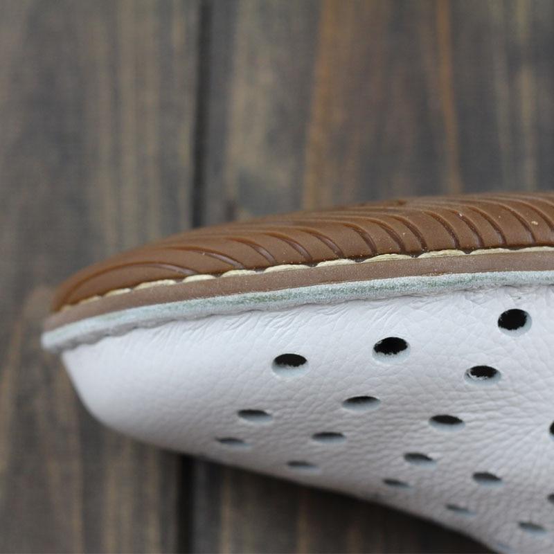 Sur À 3 Faites Ceyaneao Plaine Femmes Appartements Cuir Chaussures Slip White Plat Femme Véritable La Main En Toe Casual De Dames 1957 Eqw6wR