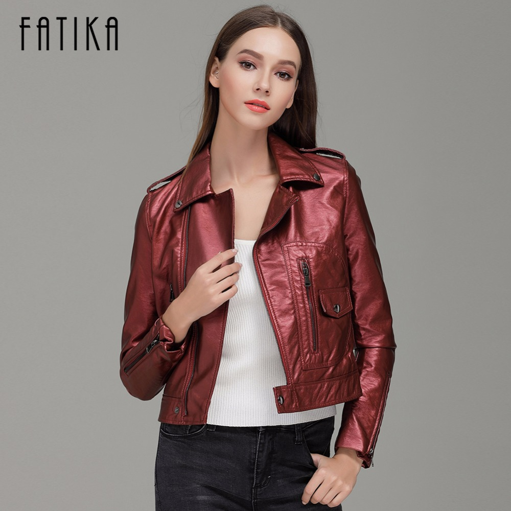 FATIKA 2017 Autumn Winter Fashion Women Faux   Leather   Jackets and Coats Zipper Flying Motorcycle Jacket Outwear With Epaulet