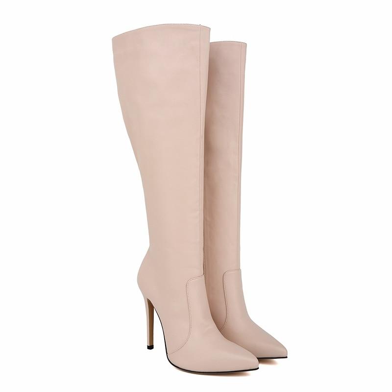 где купить Women Fashion Knee-high Boots PU Leather Boots Solid Pointed Toe High Heels Female Sexy Autumn Winter Stretch Boots 769-3MA по лучшей цене