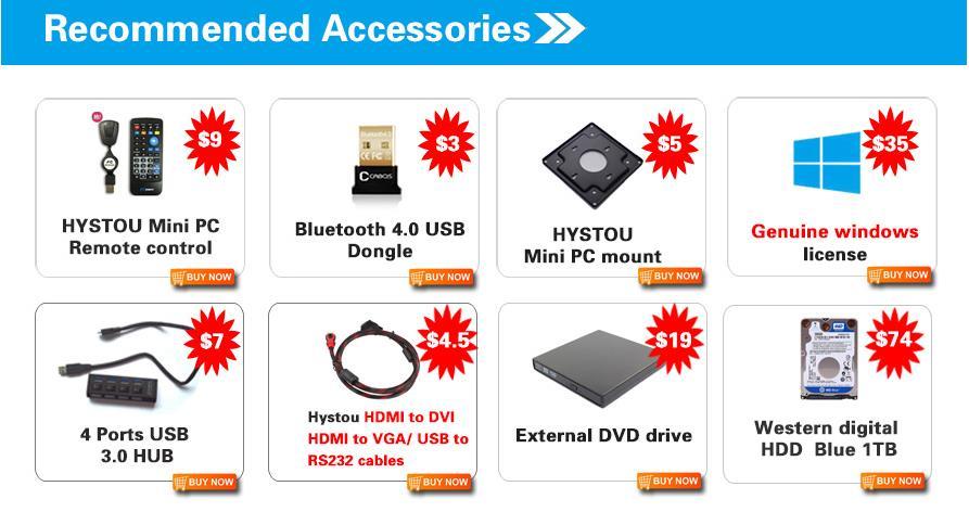 HYSTOU Mini PC Accessories Purchase Link USB Hub HDMI To VGA Cable Blu Ray DVD  Drive PC Remote Control  Bluetooth Dongle