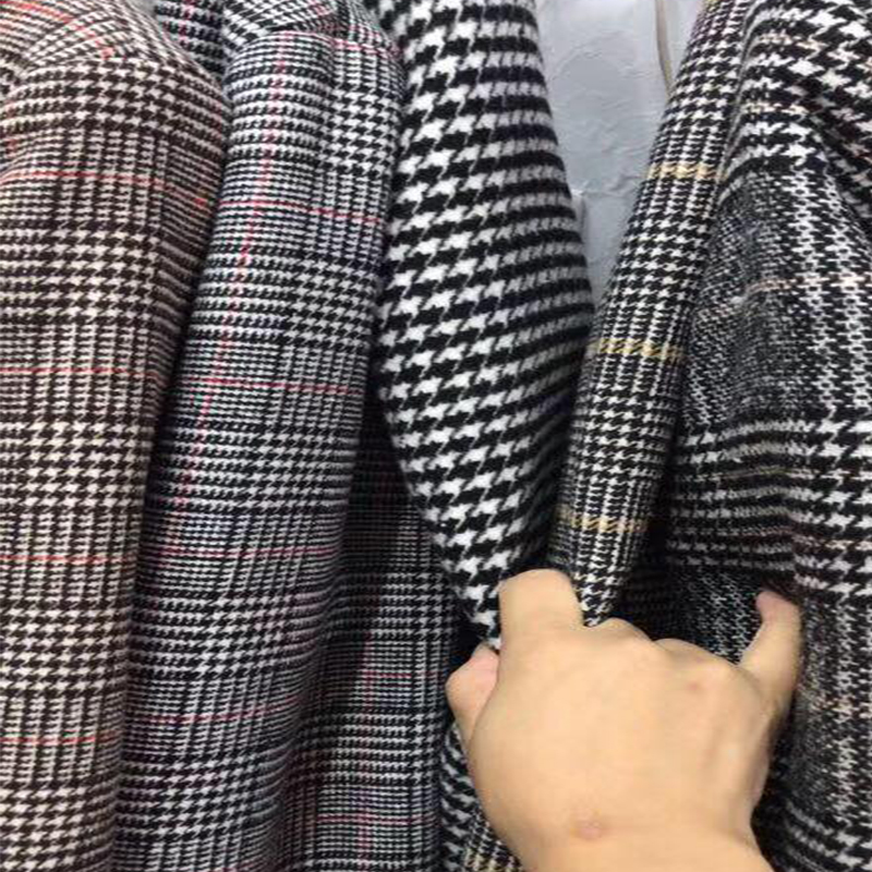 Lamb fur-padded 2018 winter women's new loose-fitting mid-length padded check wool coat, cotton-padded jacket 4