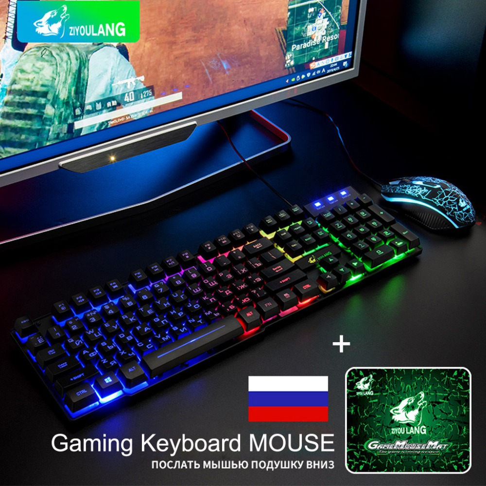 Cheapest Mechanical Rainbow Backlight Usb Ergonomic Gaming English Russian Keyboard And Mouse Set For PC Laptop Teclado Gamer