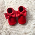 Red Real Leather Baby Bow Moccasins Handmade Infant First Walker