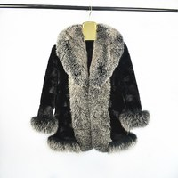 2018female natural mink fur coat fox fur big fur collar fashion warm autumn and winter jacket European woman street style