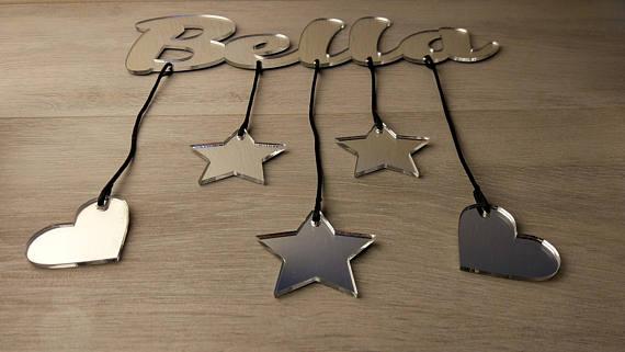 Мультфильм Детские Настенный декор, персонализированные Имя Зеркало Знак подарок ребенку, настенный буквы, пользовательское имя знак