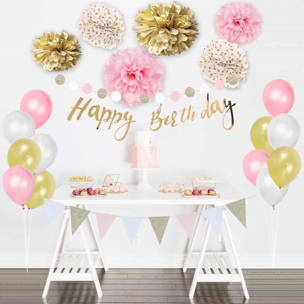 24pieces Set Happy Birthday Party Decorations Kids Girls Balloons Pompoms Banner Pink White Gold Birthday Party Accessories Set Party Diy Decorations Aliexpress