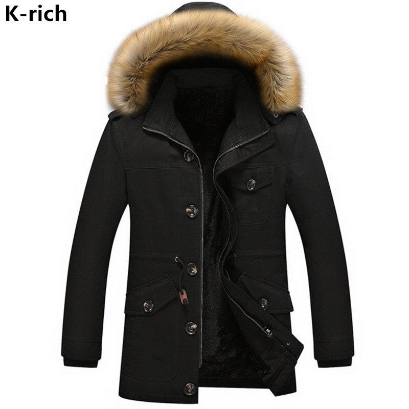 K-rich M-5XL 2017 Winter Man Jacket Coat Parka Plus Size Casual Fashion Big Fur Collar Thick Warm Men's Jacket Wadded Jacket boglioli k jacket пиджак