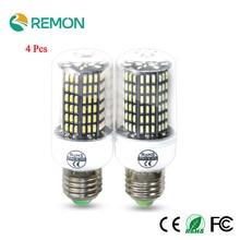 4Pcs LED Corn Bulb Lamp 4014 SMD No Flicker LED Spotlight Bulbs E27 E14 220V LED Lamp 38 55 78 88 140LEDs Smart Power IC