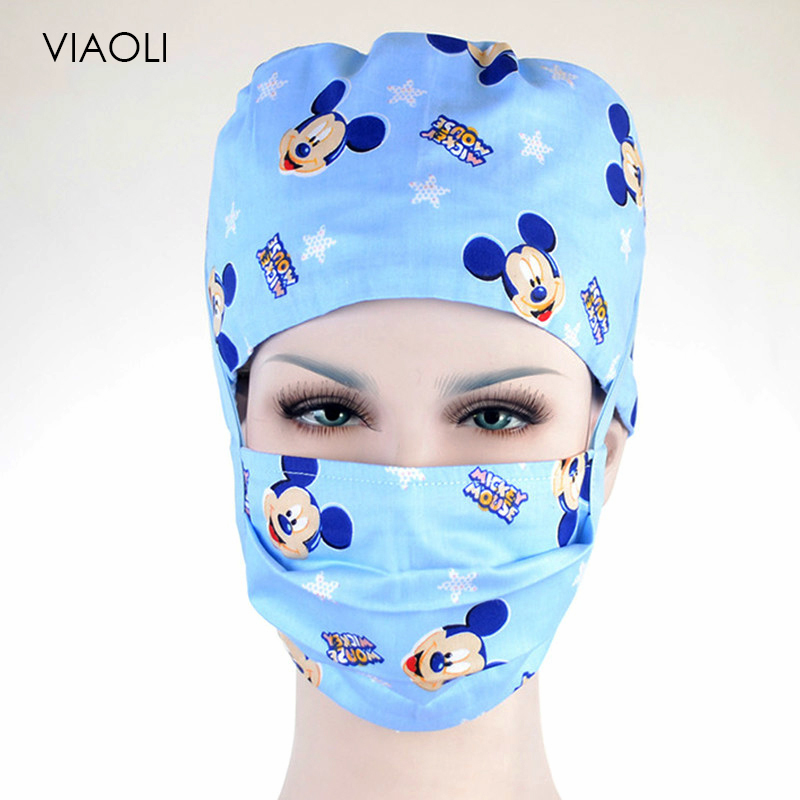 Unisex Cotton Breathable Print Adjustable Pet Hospital Work Hats Surgical Caps Doctor Nurse Caps Beauty Pharmacy Hats Wholesale