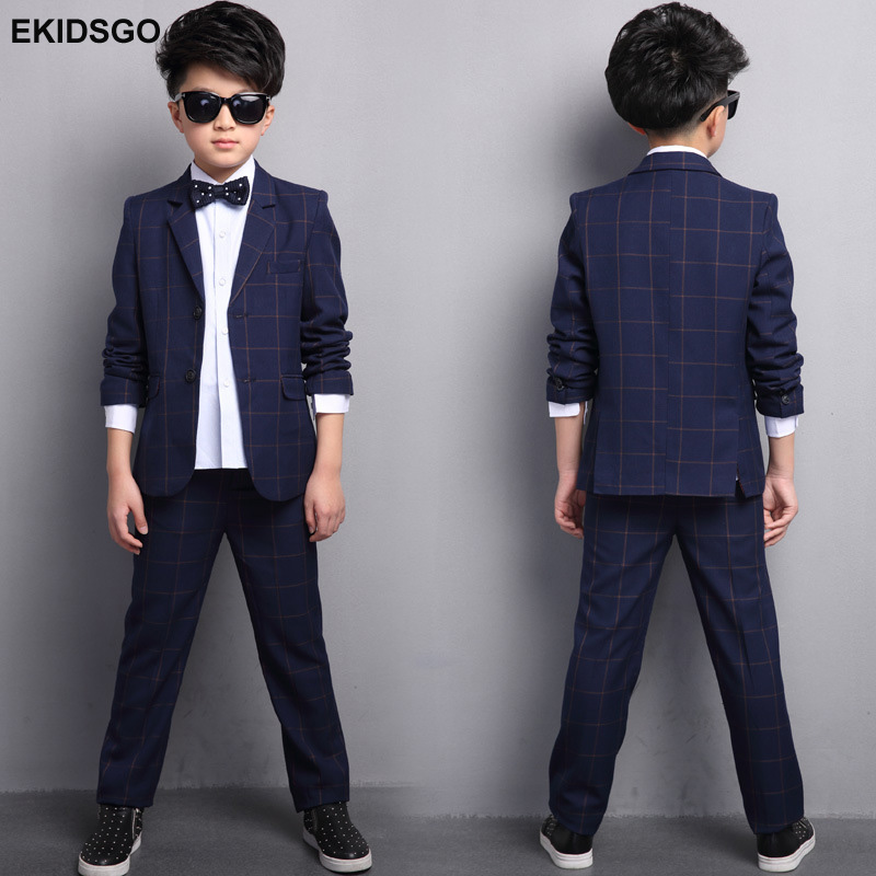 2017 Big Boys Blazer Suits for Weddings 6-14y Kids Jacket+Pants 2 pieces/set Plaid Clothes Suit Children Single Breasted Blazers color block splicing single breasted plus size thicken blazer page 2