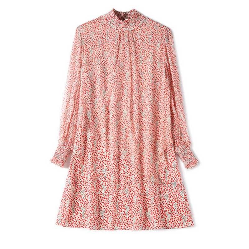 Robes printemps 2019 robe femmes vestidos nouvelle robe à manches longues irrégulière double couche imprimé robe