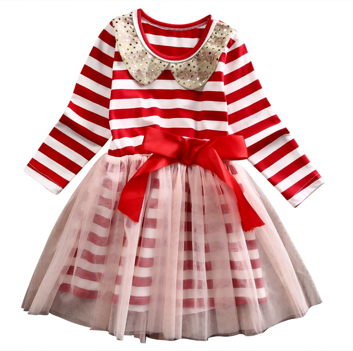 Girl Enfant Clothes Stripe Bow Tulle Party Ball Gown Dress Long Sleeve Toddler Kids Baby Girls Clothing Dresses Xmas Princess