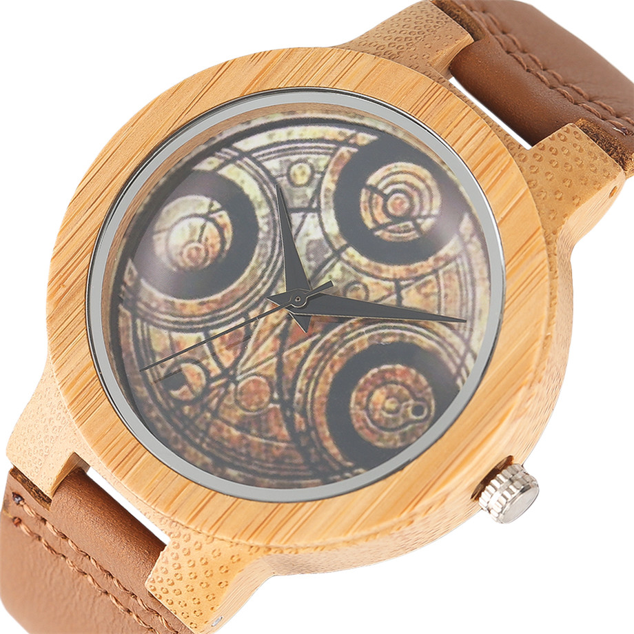 Casual Wooden Watch Dr. Who Ancient Magic Circle Dial Simple Men Women Sport Bamboo Wristwatch TV Fans Clock relogio masculino (3)