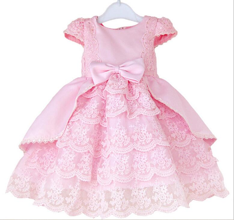 2017 Europe and the United States new spring children's wear girls dresses long-sleeved lace flowers princess dress child dress girls europe and the united states children s wear red princess long sleeve princess dress child kids clothing red bow lace