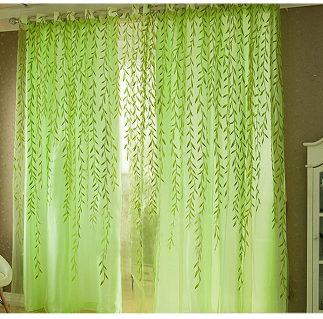 Astonishing Us 7 25 Fresh Willow Leaf Tulle Curtains Veil Pastoral Style Window Decorative Curtains For Bedroom Living Room Ct1029 In Curtains From Home Interior Design Ideas Inamawefileorg
