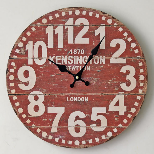 London 1870 Europe Wood Wall Clocks Red Retro Decorative Antique Home Decor