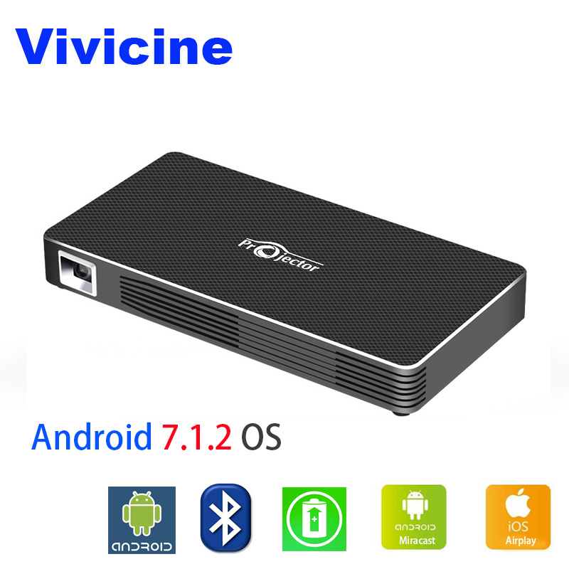 VIVICINE WIFI LED Mini Projector C800W Built in Battery Andriod 7 1 Bluetooth Support Wired Mirroring