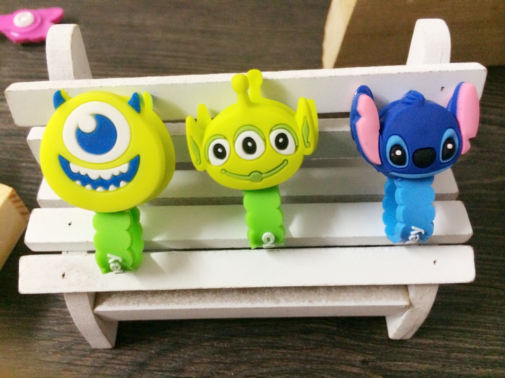 50pcs/lot Stitch Donald Duck Cartoon Cable Winder Wave Style Headphone Earphone Cable Wire Organizer Cord Holder Free shipping