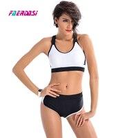 Faerdasi Black White Swimsuit Women Patchwork Swimwear Professional Bikini Set Femme Longline Training Swim Suit Bathing