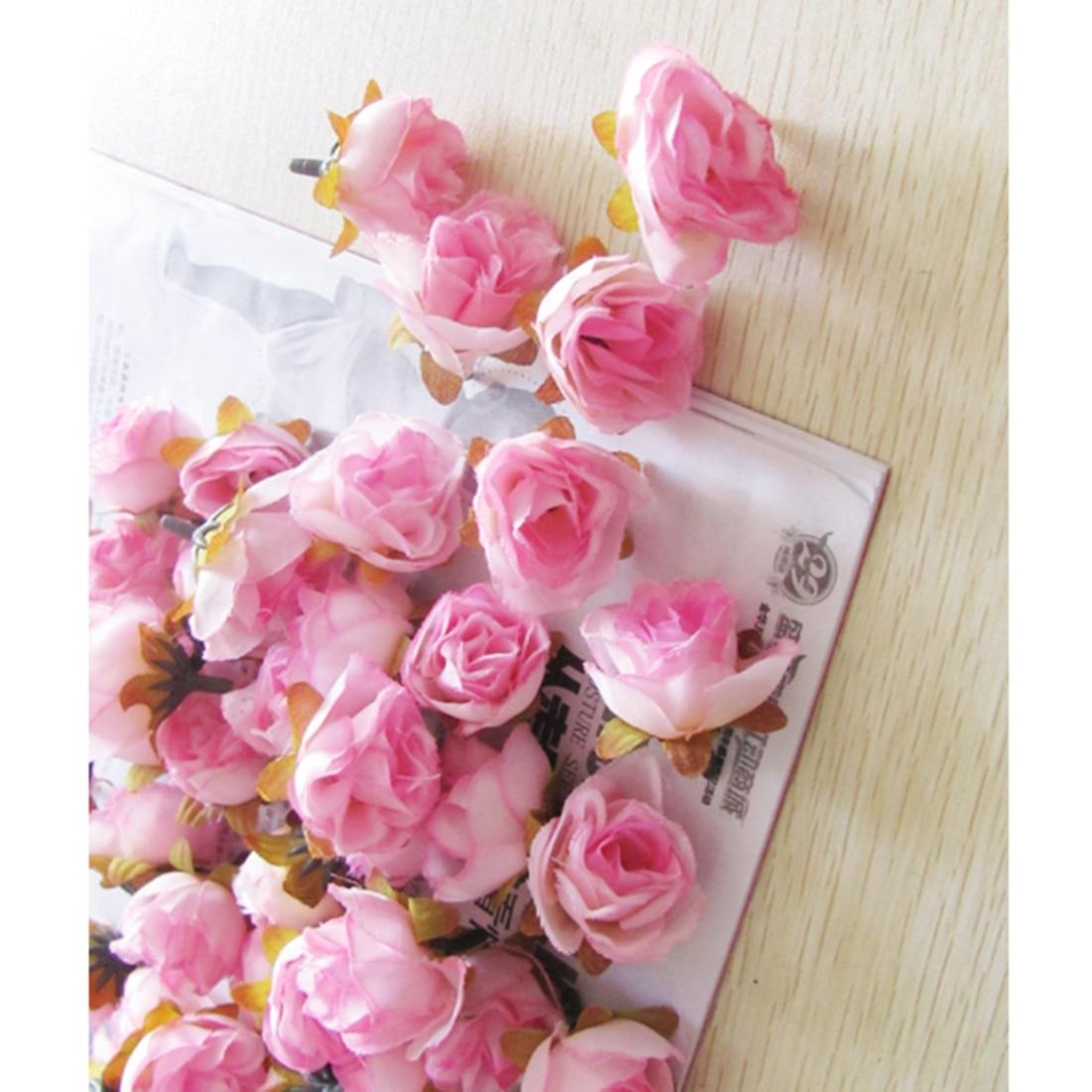 UESH-100pcs Multi Color Pequeño Té Rosa Bricolaje Rosa Flor de Seda - Para fiestas y celebraciones - foto 4