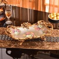 Европейская роскошная фруктовая плошка для фруктов, чайная Центральная тарелка с ручкой, сухой фруктовый декорированный журнальный столик