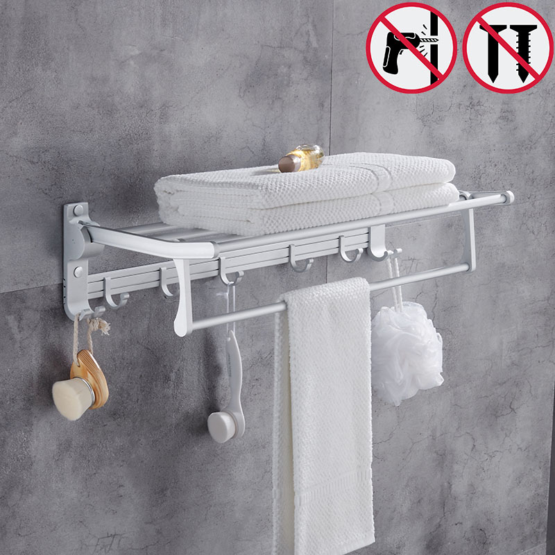 Nail free Gold Foldable Bath Towel Racks Active Bathroom Towel Holder Double Towel Shelf With Hooks Bathroom Accessories foldable black bronze bath towel rack active bathroom towel holder double towel shelf with hooks bathroom accessories