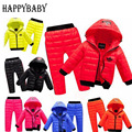 Children Set Waterproof Snow Warm kids Clothes suit 5 color Boys girls Clothing sets winter 3-8year hoody Down Jacket + Trousers