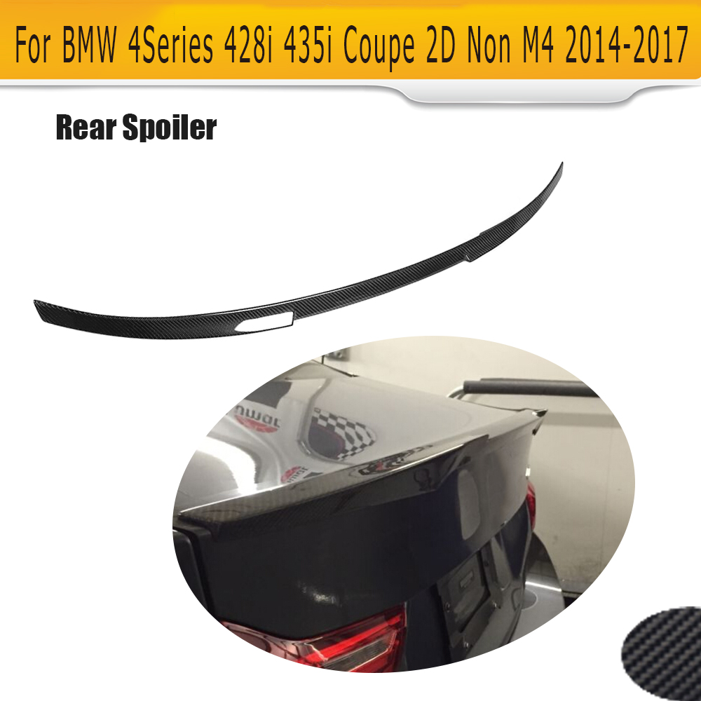 все цены на Carbon Fiber Rear Trunk Spoiler lip Wing For BMW 4 Series F32 F33 Coupe 2 Door Only 14-17 428i 435i NON M4 Style онлайн