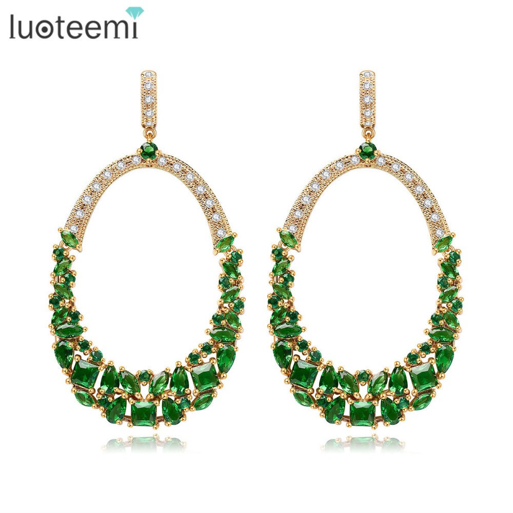 LUOTEEMI New Gold Plated Women Latest Copper Metal Drop Model Heavy Bridal Fashion Earrings Wedding Engagement Jewelry Brincos