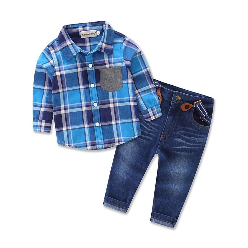 Ropa de bebé fresca 2018 traje de ropa nueva de primavera, traje de marca para niños, camisa a cuadros + jeans, juego de 2 piezas.
