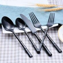 Роскошный набор посуды, покрытый розовым золотом, черный нож, вилки, набор столовых приборов из нержавеющей стали, набор столовых приборов из бамбука, 5 шт