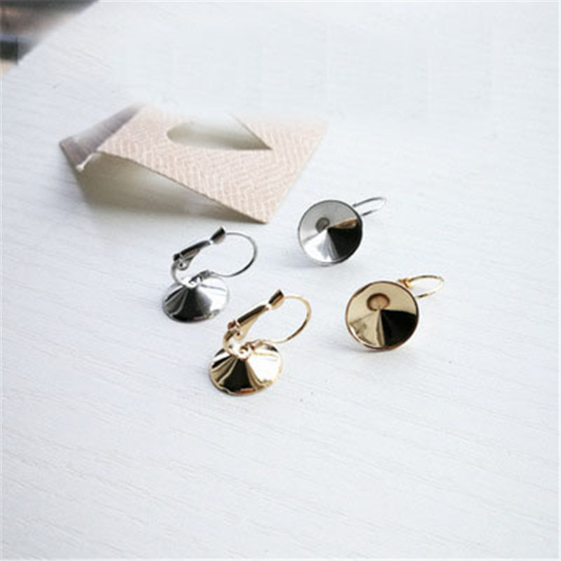 Cabochon Blanks Pendant Settings Trays Bezel Charms Stainless Steel Connector for Jewelry Making with Hole 6mm 50Pcs