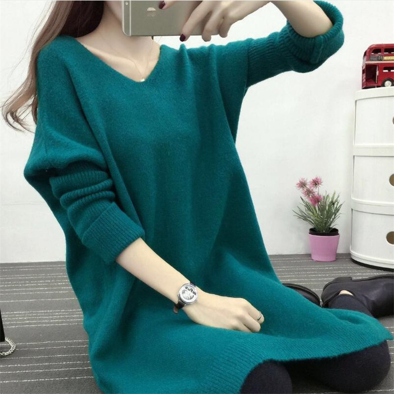 2019 Autumn And Winter New Hooded V-neck Long Solid Sweater Korean Women's Loose Long-sleeved Shirt
