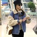 2016 Wool Denim Jacket Winter Loose Patchwork Female Thick CottonJacket Jeans Coats Outwear Winter Fashion Casaco Feminino