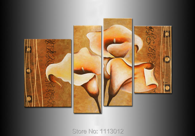 Hot Sale High Quality Morning Glory Flower Oil Painting On Canvas 4Pcs Art Sets Abstract Home Decor Modern Wall For Living Room