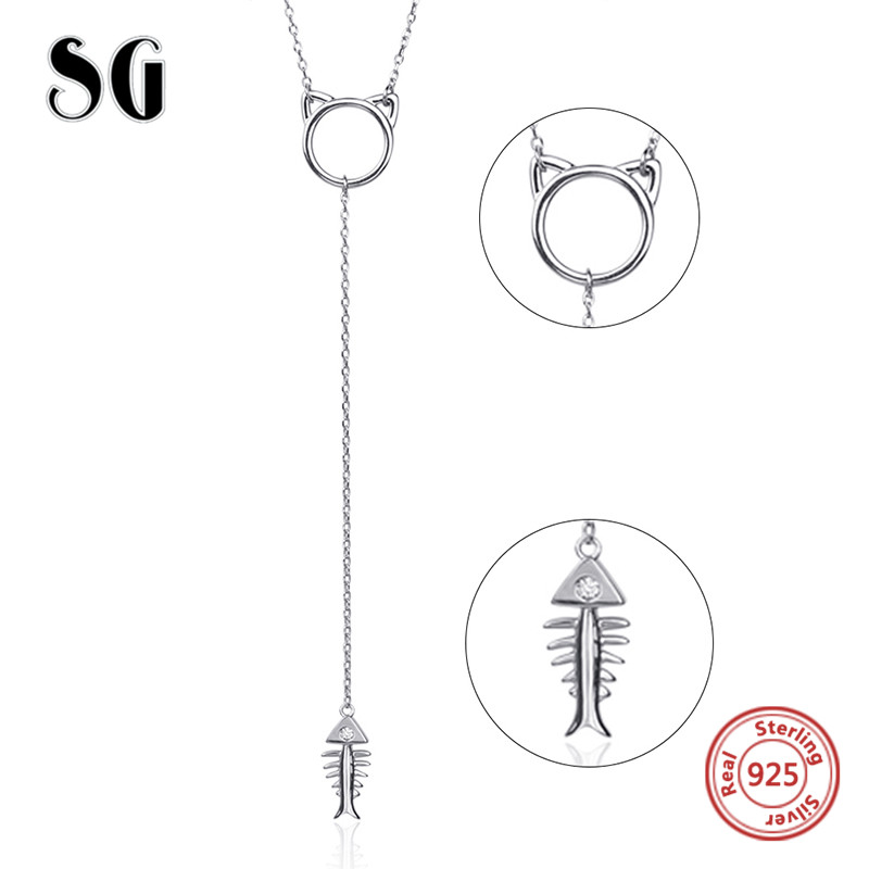 SG Aliexpress 100 925 sterling silver cat and fish bone chain necklace pendant fashion jewelry making for women gifts in Chain Necklaces from Jewelry Accessories