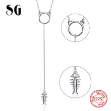 SG Aliexpress 100% 925 sterling silver cat and fish bone chain necklace&pendant fashion jewelry making for women gifts