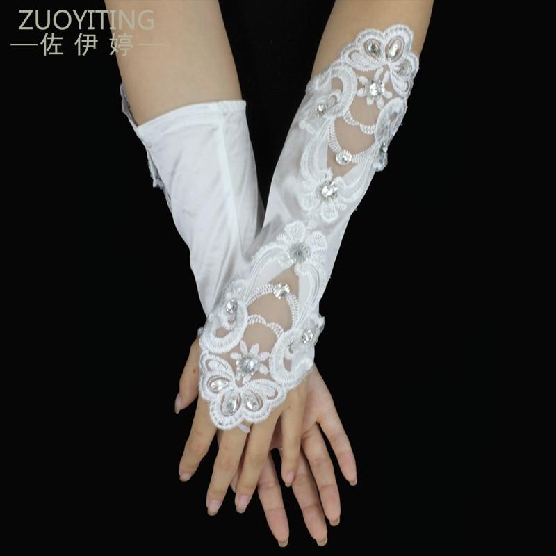 ZUOYITING 2017 Vruće Jeftini Bijela Bjelokost Fingerless Rhinestone Čipka Sequins Kratki svadbeni Vjenčanje Rukavice Vjenčanje pribor