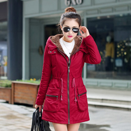 ФОТО New2015 Women Long Sleeve Hooded Slim Waist Coats Fashion Ladies Thicken Padded Cotton Overcoat Female Winter Warm Jackets H4165
