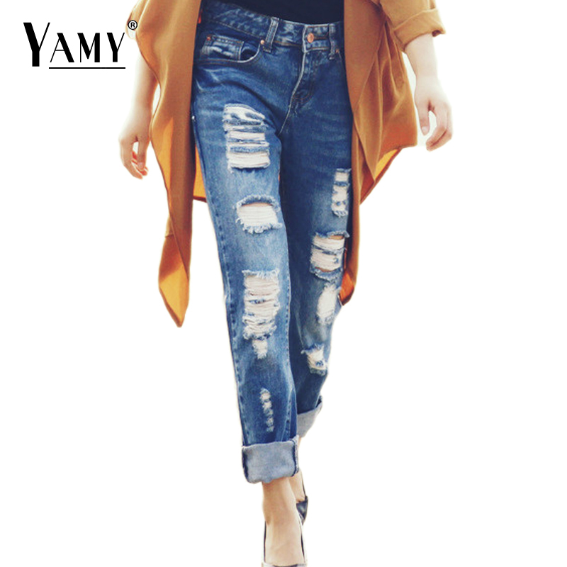 2017 Summer Skinny Hole Ripped Jeans Woman Blue Denim Vintage Straight Casual Jeans Feminino Mid Waist Pants Femme Mujer Female Bottoms Women's Clothing