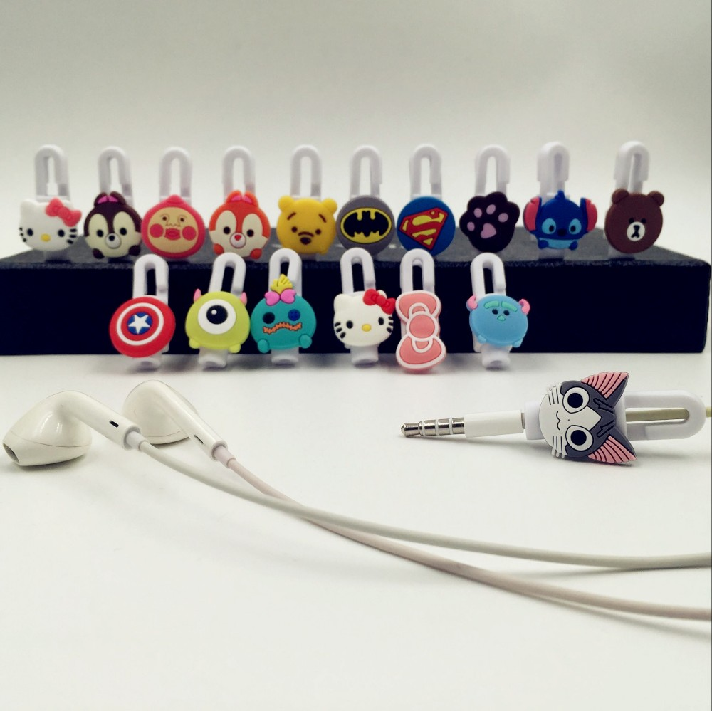 10pcs lot Cartoon USB font b Cable b font Earphone Protector headphones line saver and font
