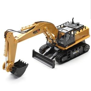Image 5 - Huina 510 ワイヤレスリモコン合金ショベルシミュレーション子供充電電気おもちゃの掘削エンジニアリング車両モデル