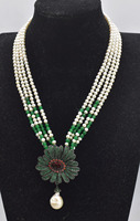 4rows freshwater pearl white near round 3 5mm green jade necklace 17inch FPPJ wholesale beads nature