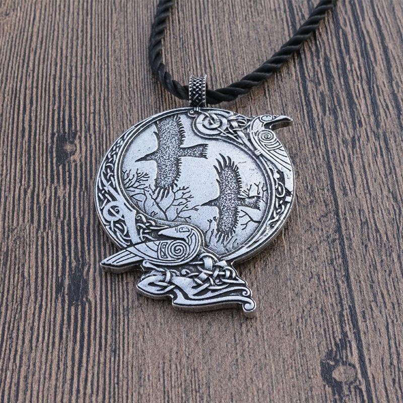 1 pz lanseis Odin Raven Pagan ciondolo Simbolo Dèi uomini Norse Vichingo collana Celt Norvegese Rune gioielli