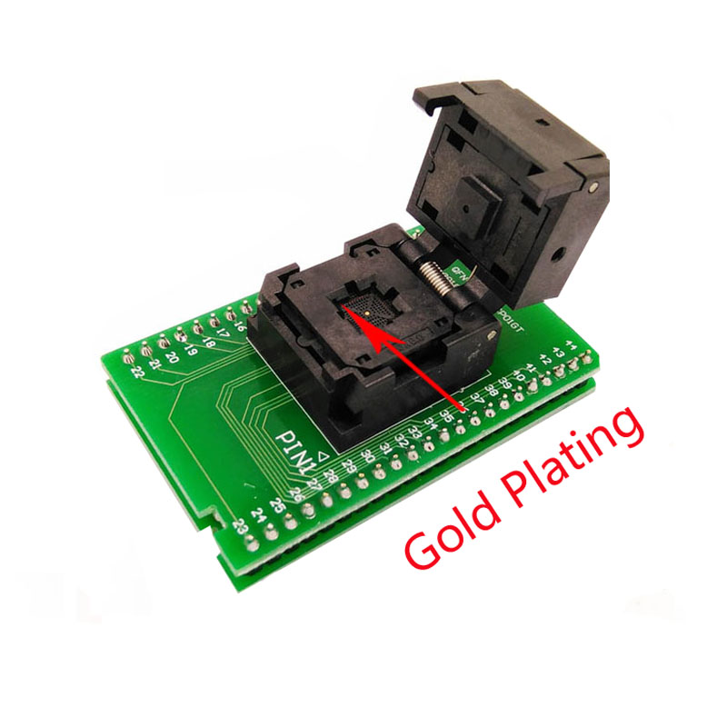 QFN44 MLF44 Programming Socket IC ZIF Test Socket Pitch 0 4mm Clamshell Chip Size 6 6 Flash SMT SMD Test Socket in Connectors from Lights Lighting