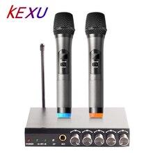 Kexu UHF Двухканальный беспроводной карманный микрофон, простая в использовании Беспроводная система Караоке микрофонная система