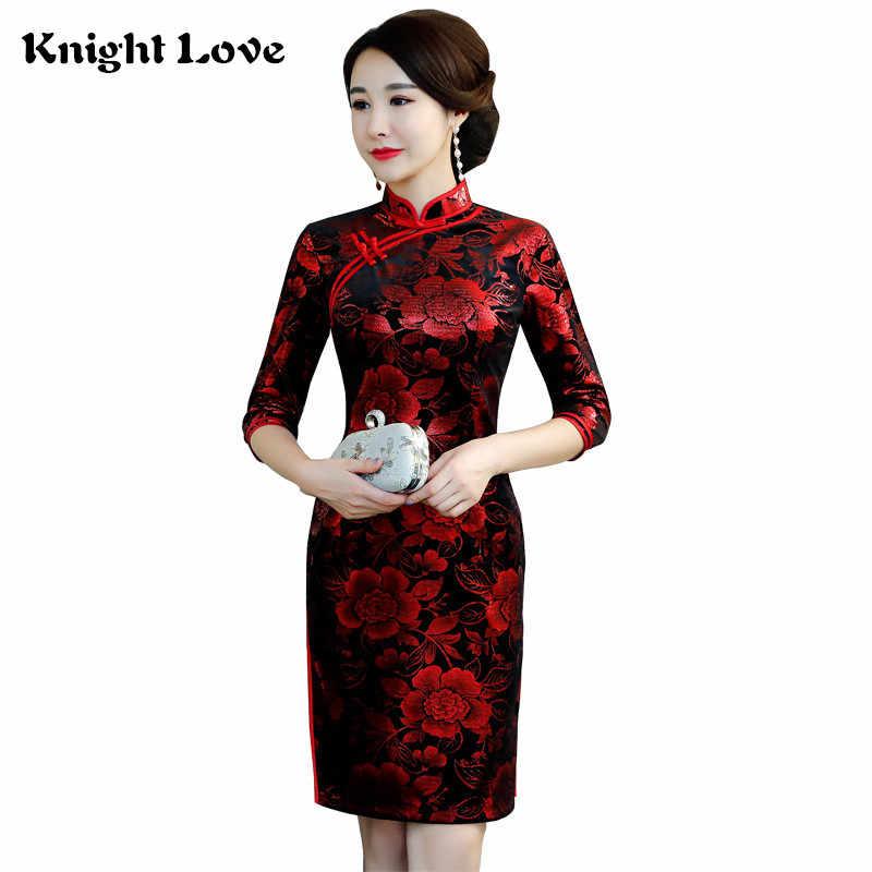 0dc458e570b76 8 Colour Traditional Chinese Clothing Velour Half Sleeve Qipao Dress New  Flower Soft Women s Cheongsam Vintage